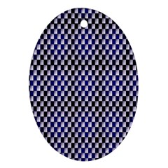 Squares Blue Background Ornament (Oval)