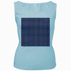 Squares Blue Background Women s Baby Blue Tank Top