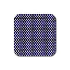 Squares Blue Background Rubber Square Coaster (4 pack)
