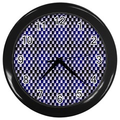 Squares Blue Background Wall Clocks (Black)