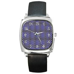 Squares Blue Background Square Metal Watch