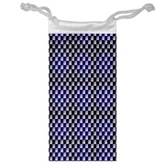 Squares Blue Background Jewelry Bag
