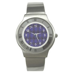 Squares Blue Background Stainless Steel Watch