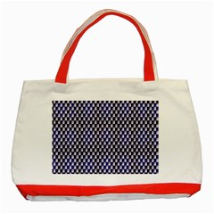 Squares Blue Background Classic Tote Bag (red)