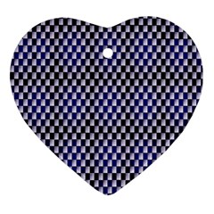 Squares Blue Background Heart Ornament (Two Sides)