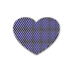 Squares Blue Background Rubber Coaster (heart)