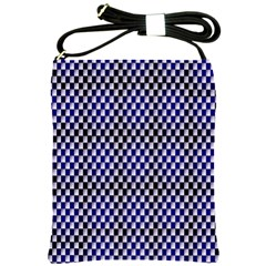 Squares Blue Background Shoulder Sling Bags