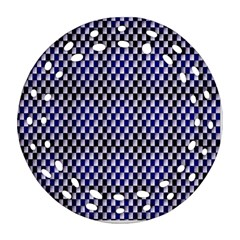 Squares Blue Background Round Filigree Ornament (Two Sides)