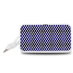 Squares Blue Background Portable Speaker (white)