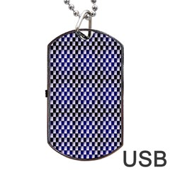 Squares Blue Background Dog Tag USB Flash (One Side)