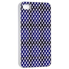 Squares Blue Background Apple Iphone 4/4s Seamless Case (white)