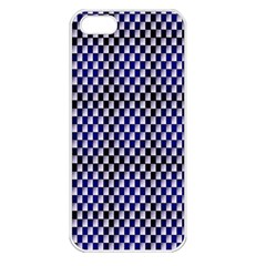 Squares Blue Background Apple iPhone 5 Seamless Case (White)