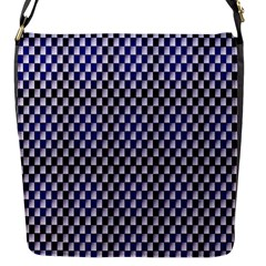 Squares Blue Background Flap Messenger Bag (S)