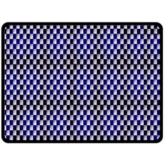 Squares Blue Background Double Sided Fleece Blanket (large)