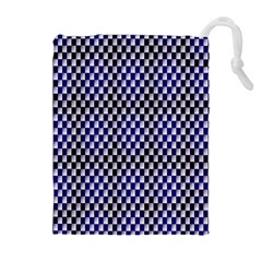 Squares Blue Background Drawstring Pouches (extra Large)