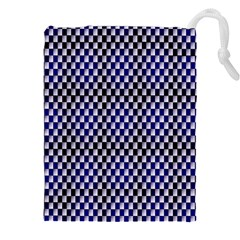 Squares Blue Background Drawstring Pouches (xxl)