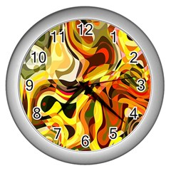 Colourful Abstract Background Design Wall Clocks (silver)
