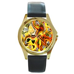 Colourful Abstract Background Design Round Gold Metal Watch