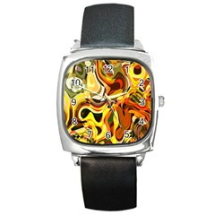 Colourful Abstract Background Design Square Metal Watch