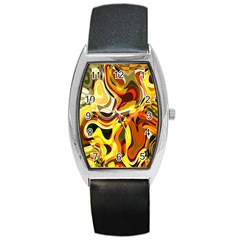 Colourful Abstract Background Design Barrel Style Metal Watch