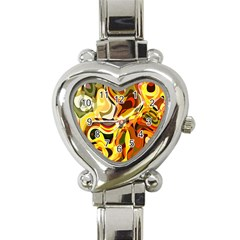 Colourful Abstract Background Design Heart Italian Charm Watch