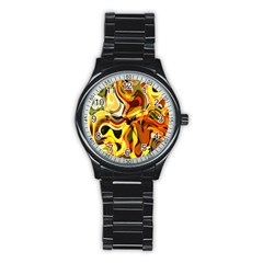 Colourful Abstract Background Design Stainless Steel Round Watch