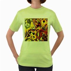 Colourful Abstract Background Design Women s Green T-Shirt