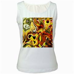 Colourful Abstract Background Design Women s White Tank Top