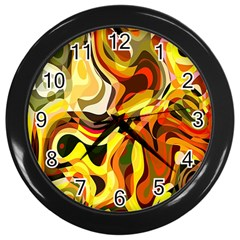 Colourful Abstract Background Design Wall Clocks (black)