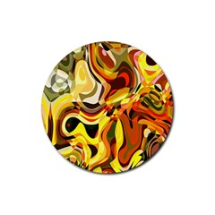 Colourful Abstract Background Design Rubber Coaster (round)