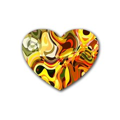 Colourful Abstract Background Design Rubber Coaster (heart)