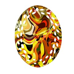 Colourful Abstract Background Design Oval Filigree Ornament (Two Sides)