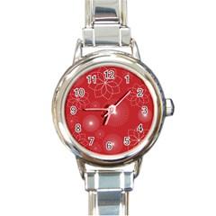Floral Spirals Wallpaper Background Red Pattern Round Italian Charm Watch