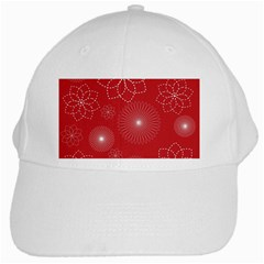 Floral Spirals Wallpaper Background Red Pattern White Cap