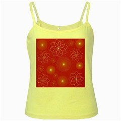 Floral Spirals Wallpaper Background Red Pattern Yellow Spaghetti Tank