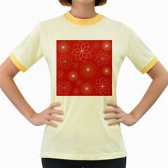 Floral Spirals Wallpaper Background Red Pattern Women s Fitted Ringer T Shirts