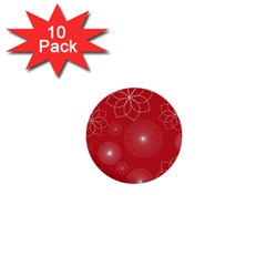 Floral Spirals Wallpaper Background Red Pattern 1  Mini Buttons (10 Pack)