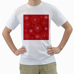 Floral Spirals Wallpaper Background Red Pattern Men s T-Shirt (White) (Two Sided)