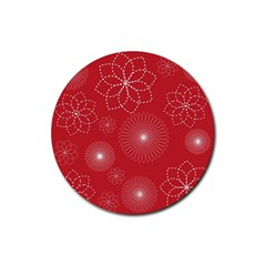 Floral Spirals Wallpaper Background Red Pattern Rubber Round Coaster (4 pack)