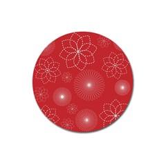 Floral Spirals Wallpaper Background Red Pattern Magnet 3  (Round)