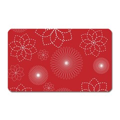 Floral Spirals Wallpaper Background Red Pattern Magnet (rectangular)