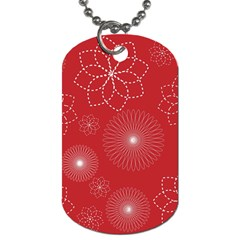 Floral Spirals Wallpaper Background Red Pattern Dog Tag (One Side)