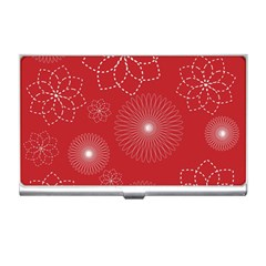 Floral Spirals Wallpaper Background Red Pattern Business Card Holders