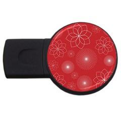 Floral Spirals Wallpaper Background Red Pattern USB Flash Drive Round (1 GB)