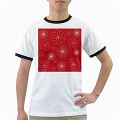Floral Spirals Wallpaper Background Red Pattern Ringer T-Shirts