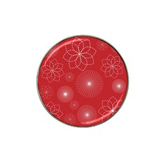 Floral Spirals Wallpaper Background Red Pattern Hat Clip Ball Marker (4 Pack)