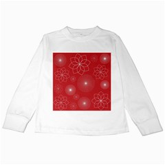 Floral Spirals Wallpaper Background Red Pattern Kids Long Sleeve T-Shirts