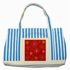 Floral Spirals Wallpaper Background Red Pattern Striped Blue Tote Bag