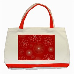 Floral Spirals Wallpaper Background Red Pattern Classic Tote Bag (red)