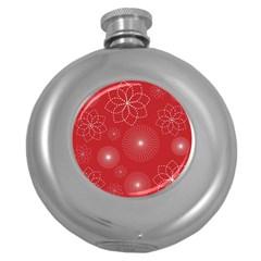 Floral Spirals Wallpaper Background Red Pattern Round Hip Flask (5 oz)